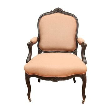 Pre-owned French Bergere Chair in Coral Linen