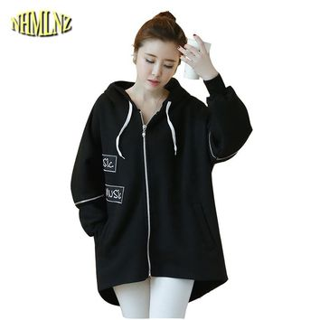 2017 Women New Thick Autumn Tang Duck Print Sweatshirt Women Casual Long sleeves Irregular Loose Hooded Sweatshirt Women WXY229