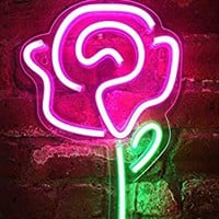 "Isaac Jacobs 15"" inch LED Neon Pink Rose Flower with Green Stem Wall Sign for Cool Light, Wall Art, Bedroom Decorations, Home Accessories, Party, and Holiday Decor: Powered by USB Wire"