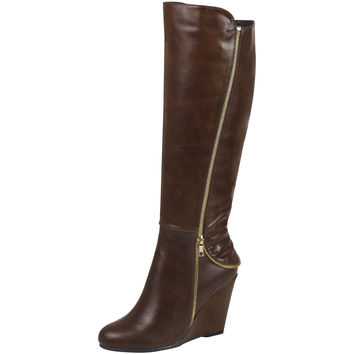 Womens Knee High Boots Faux Zipper Accent High Wedge Shoes Cognac SZ