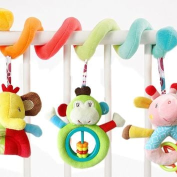 2016 New 0-12 Months Baby Toys Cute Animal Infant Musical Crib Bed Hanging Rattles Bed Bell Educational Plush Toys