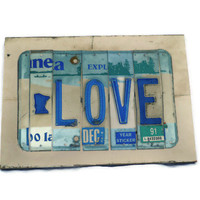 License Plate Sign - Minnesota Love - Blue and White