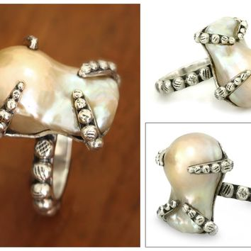 Sterling Silver and Pearl Cocktail RIng - Octopus Embrace | NOVICA