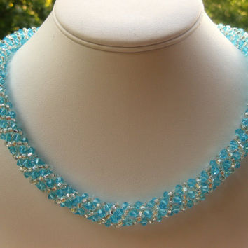 Spiral rope necklace in Aqua.  Free  same day shipping.