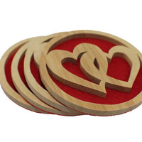 Wooden hearts entwined COASTER SET, home decor, wedding gift, wooden coaster set, housewarming gift