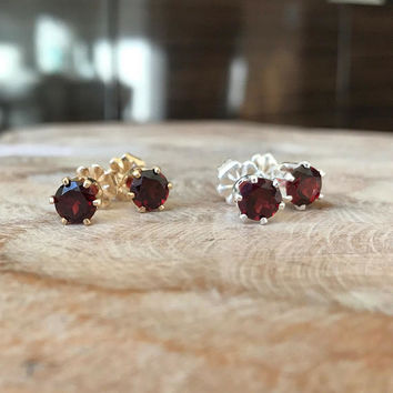 Garnet Earrings, Garnet Earrings in Gold or Silver, Gold or Silver Garnet Stud Earrings, Garnet Stud Earrings, Garnet Earrings Gold, Garnet
