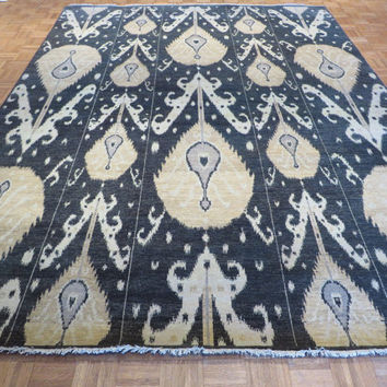 9 x 12 Hand Knotted Black Ikat Oriental Rug