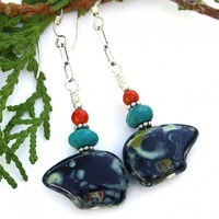 Zuni Inspired Black Bear Earrings, Turquoise Red Coral Handmade Southwest Jewelry for Women
