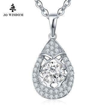 Real 925 Silver Luxury Dancing Natural Topaz Necklace Pendant For Women with Dancing Stone Best Gift Valentine's Day