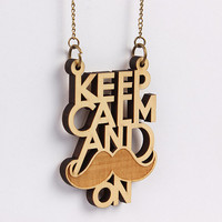 Wood Necklace - Keep Calm Mustache On