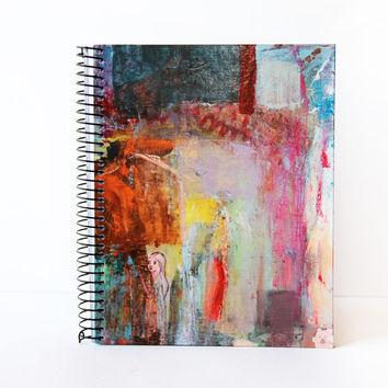 Art Notebook gift hard cover spiral bound design from painting, red blue pink. Spanish Art
