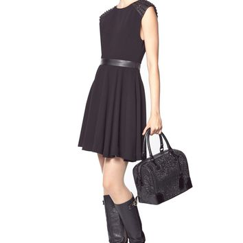 alice + olivia | KERRY STUDDED CAP SLEEVE MINI DRESS WITH LEATHER