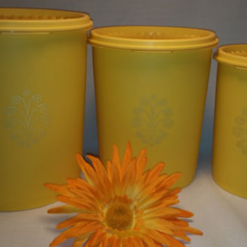 Vintage  Yellow Tupperware 3 Piece Canister Set. 1970's, Storage, Retro Kitchen