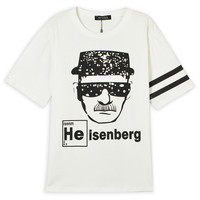 White Heisenberg Casual Scoop Neck Striped Sleeve T-shirt