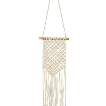 "Woven Cotton Macrame Wall Decor in Cream - 20"" Long x 12"" Wide"