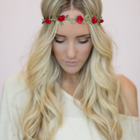 Hippie Rose Headband - Red