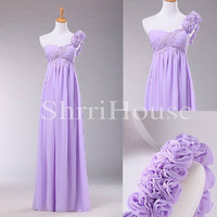 One-shoulder Flower Ruffled Strapless Empired Long Empired Bridesmaid Celebrity dress ,FChiffon Evening Party Prom Dress Homecoming Dress