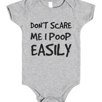 Don't Scare Me I Poop Easily-Unisex Heather Grey Baby Onesuit 00
