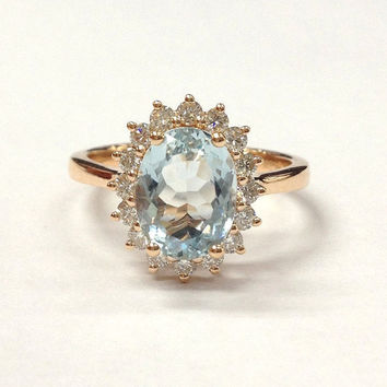 18K Rose Gold Aquamarine Engagement Ring!7x9mm Oval Cut Blue Gemstone,VS Diamond Engagement Ring,Flower Wedding Bridal Ring,Can match band