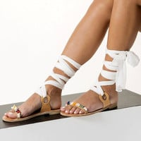 """Women Flat Sandals, Luxurious Bridal flats, Beaded sandals with interchangeable laces """"Charis"""" NEW SS17 - Free standard shipping"""