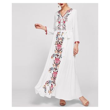 White Long Sleeve Pom Pom Trim Floral Maxi Dress