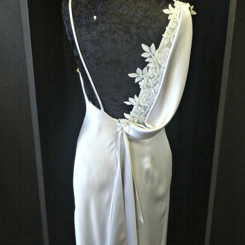 Silver Silk Wedding Dress With Open Back and Lace Detail