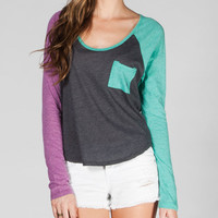 Volcom Pocket Blocket Womens Raglan Tee Charcoal  In Sizes