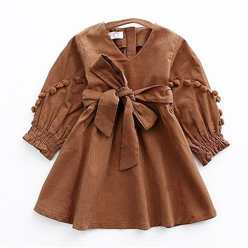 2017 New Autumn Vintage Style Baby Girl Velvet Dress Bowknot Lantern Sleeve Winter Kids Corduroy Pompoms Dresses for Girls