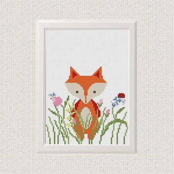 Fox cross stitch pattern Baby cross stitch pattern Funny cross stitch Funny embroidery Fox embroidery pattern Fox