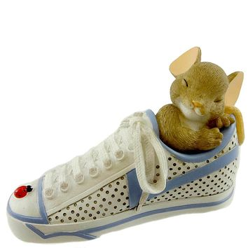 Charming Tails MAY YOU NEVER RUN OUT OF DREAMS Resin Sleeping Mouse Shoe 4033018