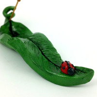 Leaf and Lady Bug Incense Holder, Leaf Incense Holder, Leaf Incense Burner, Ladybug Incense, Ladybug Decor, Leaf Decor, Christmas Gift
