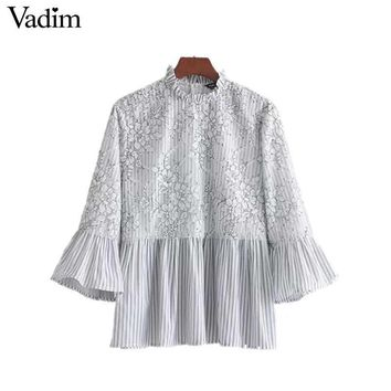 Vadim women sweet lace patchwork floral striped shirt flare sleeve ruffled collar blouse pleated fashion tops blusas LT2298