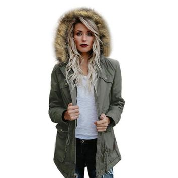 Women's Hooded Winter Warm Fur Collar Jacket