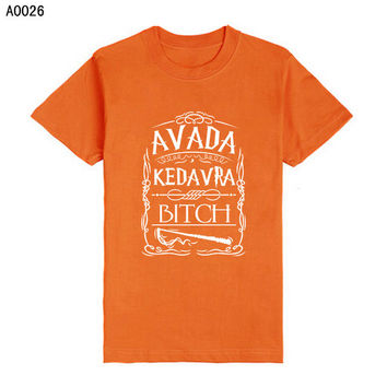 New Men Fashion Harry Potter Spell Avada Kedavra Wizard T-shirts High Quality Letters T Shirts