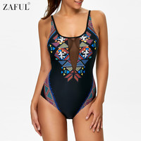 ZAFUL 2017 New Sexy Women One Piece Swimwear Geometric Pattern High Cut Swimsuit Mesh Patchwork Monokini Bathing Suit Bodysuit