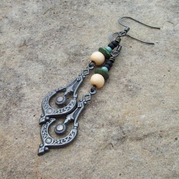 Oxidized Metal Earrings - Bohemian Hippie Metal Drop Earrings with Wood Beads