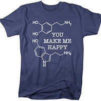 Shirts By Sarah Men's Geek Dopamine Serotonin T-Shirt Chemistry Shirts