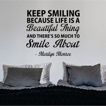 Marilyn Monroe Keep Smiling Quote Decal Sticker Wall Vinyl Decor Art