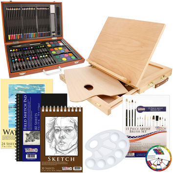 US Art Supply 82 Piece Deluxe Art Creativity Set in Wooden Case Wood Desk Easel and BONUS 20 additional pieces - Deluxe Art Set