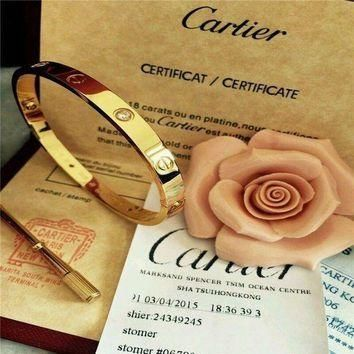 ONETOW Authentic Cartier 18K Love Yellow Gold Bracelet 4 Daimonds Size 19@@@
