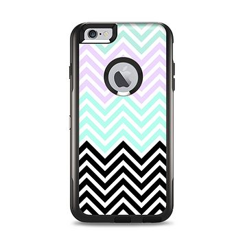 The Light Teal & Purple Sharp Black Chevron Apple iPhone 6 Plus Otterbox Commuter Case Skin Set