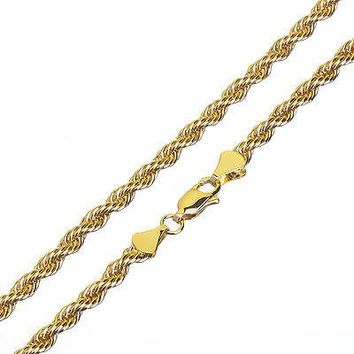 Jewelry Kay style Men's Women's 14K Yellow Gold Plated Thin Short 3 mm Rope Chain Necklace 20""
