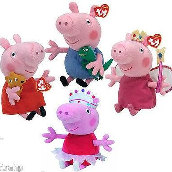 "Set Of 4 Peppa Pig 7"" Plush Beanie Baby Toy Doll TY George, Princess, Ballerina"