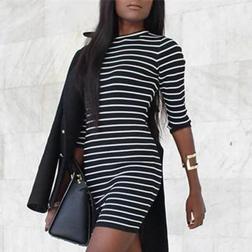 Fashion Striped Long Sleeve  Tight Dress