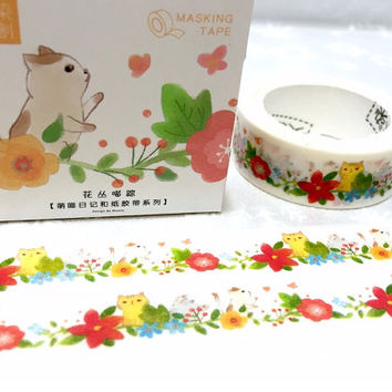 cute cat in garden washi tape 7M flower garden meow meow kawaii cartoon cat pussycat masking tape cat planner sticker cat diary scrapbook