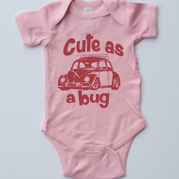 "Baby Girl Onesuit-""Cute as a Bug""VW Beetle-Baby Girl Outfit-Pink girl Onesuit bodysuit-Baby gift"