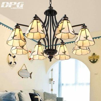 Modern Black Iron Stained Glass Flush Mount Chandeliers Tiffanylamp lighting led ceiling with E27 110v 220v lights for home