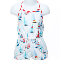 Mollie & Millie Baby Girl Romper in a Sailboat Print