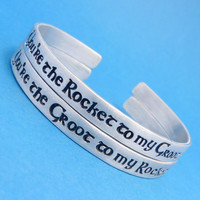 Guardians of the Galaxy Inspired - Rocket to my Groot & Groot to my Rocket - A Set of 2 Hand Stamped Bracelets in Aluminum or Sterling