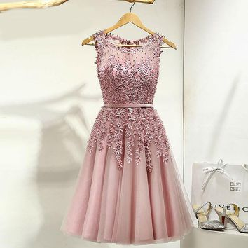 A-line Short Evening Dress Applique Beaded Sheer Party Summer Gown Dresses robe